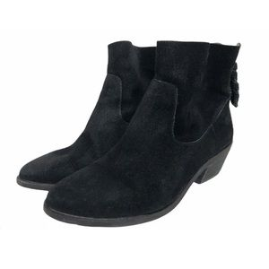 Joie Suede Zipper Back Booties Braided Zip Pull 6